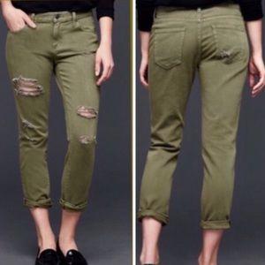 Gap Olive Green Distressed Best Girlfriend Jeans